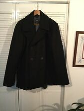 GAP PEACOAT Black Size Men's X-Large Double-Breasted Button-Front Thick Wool