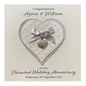 Handmade PERSONALISED Diamond 60th Wedding Anniversary Card - Heart Charm