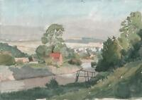 RIVER IN LANDSCAPE Antique Watercolour Painting c1930 IMPRESSIONIST