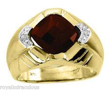Mens Garnet & Diamond Ring 14K Yellow Gold