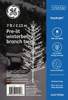 GE 7-ft Pre-Lit Winterberry Slim Christmas Tree 400 Sparkling White LED lights