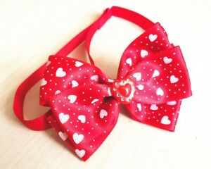 Valentine's Day red love heart adjustable bow charm collar pet dog cat