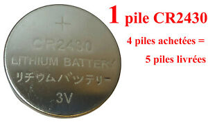 1 Pile Bouton 3V CR2430 BR2430 DL2430 5011L Lithium (Validité 2023) 4+1 OFFERTE