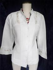 EMMA JAMES Stand up Neck Embroidered Button 3/4 Slv Shirt Tank Top Blouse Size 8
