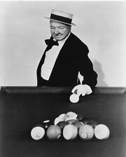 W.C. FIELDS 8X10 PHOTO PLAYING POOL SNOOKER TABLE