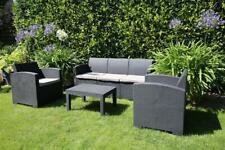 Polyrattan Gartenmöbel Set Lounge Terrassen Möbel 5 Sitzer mit Tisch 240101