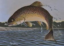 Brown Trout Print Fly Fishing 11 x 14 Acrylic Painting Wall Art by Doug Walpus
