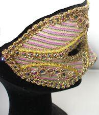 Masquerade Mask Metallic  Pastel Stripe & Gold Fancy Dress Masked Ball Party