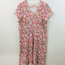 Norm Thompson Knit Modal Dress A-Line Modest Pink Taupe Floral Print XL