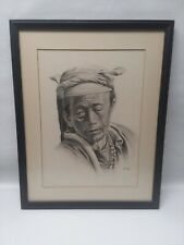 DOUGLAS GORAY Rare Art  - Tibet Man with head scarf - signed framed and matted
