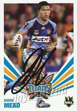 ✺Signed✺ 2012 GOLD COAST TITANS NRL Card DAVID MEAD Daily Telegraph