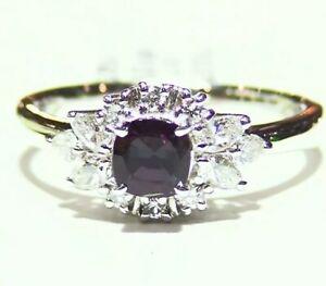 Vintage 1.13CT Platinum Natural Brazilian Alexandrite Diamond Engagement Ring