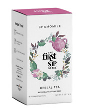 The First Sip Of Tea Chamomile Herbal Tea, 16 Count Premium teabox