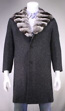 * KITON * Recent Gray Tweed 100% Cashmere w/ Real Fur Collar Overcoat 38S