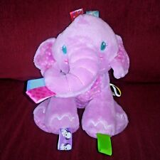 Taggies Tag n Play Pals PINK ELEPHANT 10in Soft Rattle Plush Animal Lovey Tags