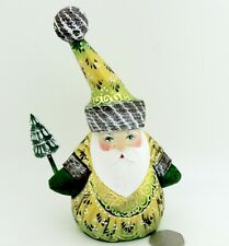 Santa Father FROST Russian Wood Carving FIGURE Doll Golden Green Christmas Tree