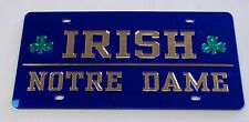 Notre Dame Fighting Irish Mirrored License Plate Blue