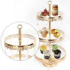 3-Tier Gold Glass-surface Cupcake Stand Dessert Display Tower Wedding Cake Plate