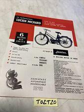 Cyclomoteur Lucien Michard moteur junior catalogue prospectus brochure de vente