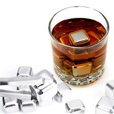 2 Pc Nuevo De Acero Inoxidable Whiskey Piedras Rock cubitos de hielo esteatita bebida Congelador