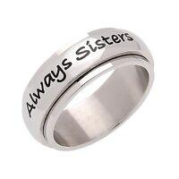 Stainless Steel Always Sisters Forever Friends Spinner Ring, Sister Ring