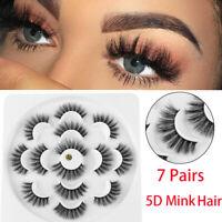 7Pair/pack Mink Hair False Eyelashes Extension Thick Long Wispy Eye Lashes UK