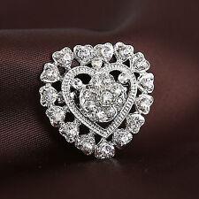Fashion Silver Tone Heart Rhinestone Crystal Wedding Brooch Pin Bouquet Jewelry