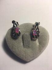 """Pink Fire Opal Silver PLATED Gems Stud Earrings 3/4""""-E203"""