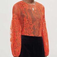 Maje Sz 3 (L) Orange Sheer Lace Blouse Top NWT $250 Balloon Long Sleeve LAYOU