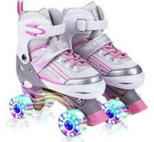 Kuxuan Saya Roller Skates Adjustable for Kids,with (Small) (Pink & Gray)