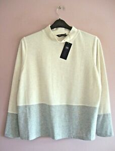 M&S Size 18 Cream + Grey Border Stretch Jersey Long Sleeve Crew Neck Top NEW