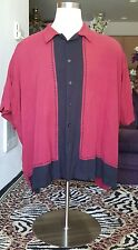 Men's Size 4X The Havanera Co Red and Black  Panel Lounge Camp Shirt