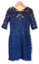 Lipsy Ladies Dress 10 Navy Blue Lace Party Occasion Cocktail Prom Evening Ball