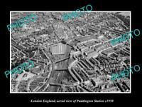 OLD LARGE HISTORIC PHOTO LONDON ENGLAND AERIAL VIEW OF PADDINGTON STATION 1950