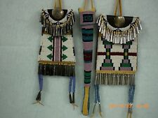 Beaded Native American Ladies 3 Piece Belt Set, Old Style; Indian Made