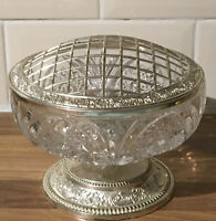 Vintage Mayell Rose bowl Cut Glass And Silver Plated EP On Zinc 6 Inch Diameter