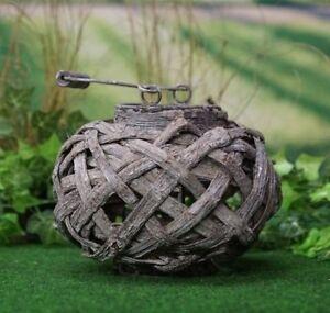 Holz Laterne klein für Garten Dekoration Gartenleuchte Windlicht Kugel