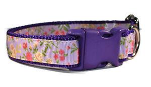Purple Pink Vintage Floral Adjustable dog puppy pet collar girl small medium