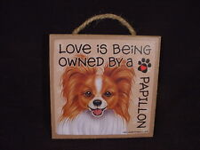 Love Owned By A Papillon Dog Sign Easel Stand Wood wall hanging Plaque puppy New