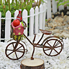 Bicycle with Picnic items ~ Miniature Sign ~ Fairy Garden  ~ Bike ~ Handmade