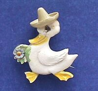 PIN Easter Vintage DUCK HAT ENAMEL FLOWER Dapper Holiday Brooch 1950s