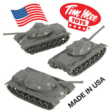TimMee Processed Plastic M48 Patton Tank: 3 Pack GRAY Tim Mee Army Men Vehicles