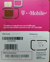 TMobile TRIPLE CUT SIM 4G LTE. Unactivate, Replacement Sim. Iphone 7/8/X