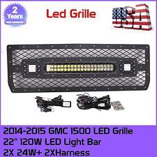 2014-2015 GMC Sierra 1500 Grille W/ 20INCH 120W Led Bar+2x24w Pods+2x Wiring Kit