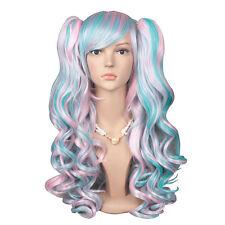 Lolita Wig Multi-color with 2 Clips Ponytails (Pink/ Light Blue)