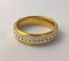G-Filled Mens 18k yellow gold simulated diamond wedding ring 6mm band bling 9.75