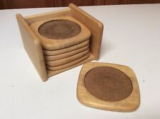 Set of 6 Wood & Cork Drink Coasters with Storage Box by Winsome