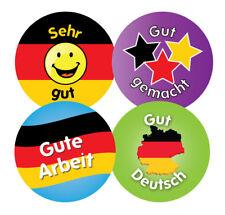 144 x allemand louange - 30mm enfants récompense autocollants-les enseignants ou parents