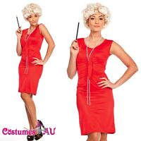 Red Flapper 20s 1920's Chicago Gangster Fancy Dress Costume Full Outfit