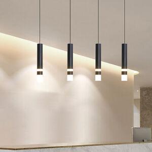 Modern Led Pendant Lamp Long Tube Kitchen Cylinder Pipe Hanging Ceiling Light